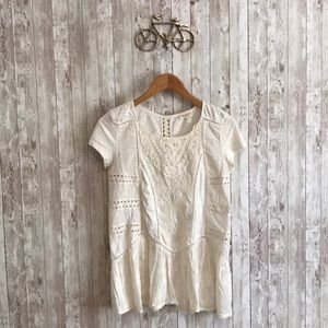 Anthropologie Meadow Rue cream embroidered shirt